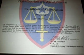 Attorney Smith Certificate of Appreciation from Commander of US Army Trial Defense for teaching class on False Confessions